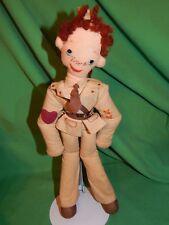"1940's WW2, II, US ARMY SOLDIER 13"" Cloth Doll : Rare Folk Art, Valentine's Day?"