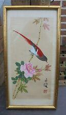 Peinture sur soie Oiseau sur branche de rosier cadre doré Vietnam  N3542