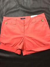 Lands End Women Pink Color Shorts Size 10 Solid Color Bin64#27