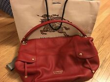 New With Tags Auth BURBERRY LONDON BLUE LABEL Red Leather Hobo Shoulder Bag
