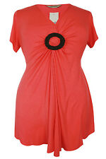 New Ladies Coral Beaded Brooch Tunic Top Sizes 16 - 26