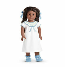 American Girl Addy's NIGHTGOWN  nightie gown slippers bows white blue  NO DOLL