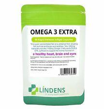 Omega 3 Fish Oil Extra 1000mg (55% DHA/EPA) 90 Capsules Healthy Heart Brain Eyes