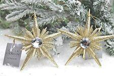 Gisela Graham Natale Oro Pallido 3-d in acrilico stella diamante Decorazione x 2