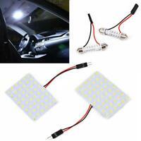 White Car Interior Light Panel 48 SMD LED T10 BA9S Dome Festoon Bulb 12V Adapter