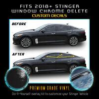 Fit 18+ Kia Stinger Window Trim Pre-Cut Chrome Delete Blackout Kit - Gloss Black