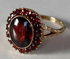VERY SPECIAL LARGE VICTORIAN ANTIQUE 9CT GOLD GARNET CABACHON CLUSTER RING