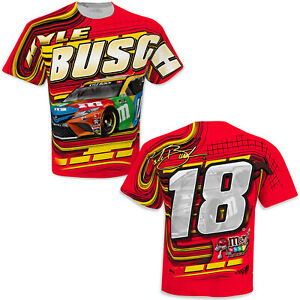 Kyle Busch 2021 #18 M&Ms NASCAR Racing Red Yellow Sublimated Shirt New L XL