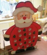 SUPERB RE-USEABLE WOODEN RED SANTA CLAUS ADVENT CALENDAR IN BOX