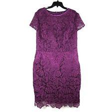 IZIDRESS Womens Cocktail  Formal Dress Sz 14/16 Lace Purple Plum Knee Length