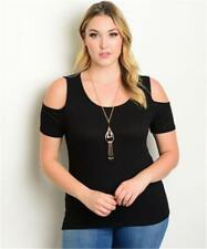 NEW..Stylish Plus Size Black Cold Shoulder Top with Necklace.Sz14/1XL