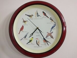12 Birds voice strike the hour Clock 13 inch Diameter Decorative Round W/ Glass