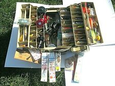 Vintage Plano Fishing Tackle Box Full of Lures & Reels and Extra Fishing Gear!