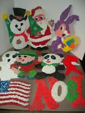 Mixed Holiday Lot of 9 Vintage Melted Popcorn Decorations