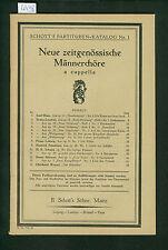 Neue zeitgenössische Männerchöre a capella 1925 Partituren-Katalog No. 1