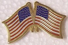 Hat Lapel Pin Tie Tac USA & the United Nations Flags crossed NEW