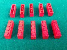 LEGO (3010) 1x4 - ROSSO ROT RED , 10 Mattoncini Brick Basic Steine