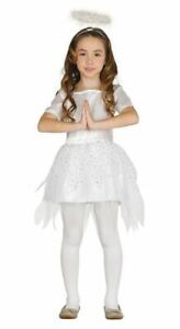 Girls Pretty White Angel Costume Nativity Christmas Fancy Dress Outfit & Halo