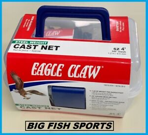 4' EAGLE CLAW NON-LEAD Bait Fish Casting Net NEW! #10010-004 FREE USA SHIPPING!