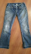 SILVER Jeans Pioneer Boot size 28 x 29.5 Hemmed Patches Distressed