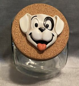 Glass dog biscuit treat jar with lid