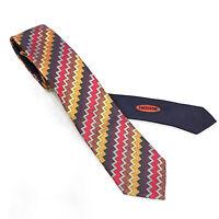 Missoni Cravatta Uomo Slim 7cm Pura Seta 100% Multicolore Rosso Cravattino 6382