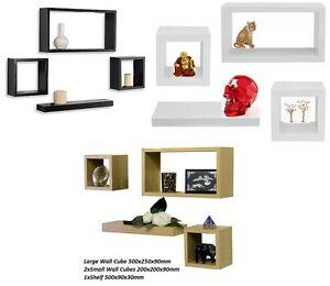 Wood Wooden Floating Wall Cubes Cube Shelf Shelves Storage Display Unit Set Of 4