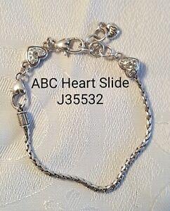 Brighton ABC Heart Slide silver Swarovski charm bead bracelet J35532 B5
