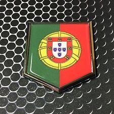 """Portugal Flag Domed CHROME Emblem Flag Car 3D Sticker 2""""x 2.25""""  Ronaldo"""