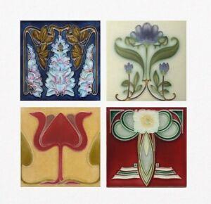 Art Nouveau/Deco Floral ceramic Kitchen Bathroom Wall tiles 4 designs 2 Sizes