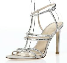 Pelle Moda Womens Silver Leather Jeweled Ankle Strap Sandals Shoes Size 7.5 M
