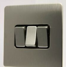 GET Ultimate Screwless Flat plate 3 Gang 2 Way 10A Switch - Stainless Steel D1