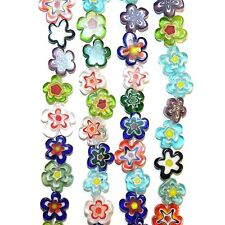 G4240L2 Assorted Color 10mm - 15mm Flat Flower Shaped Millefiori Glass Beads 16""