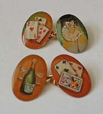 HIGHLY COLLECTABLE ANTIQUE VICTORIAN 1899 9K GOLD ENAMEL THE FOUR VICES CUFFLINK