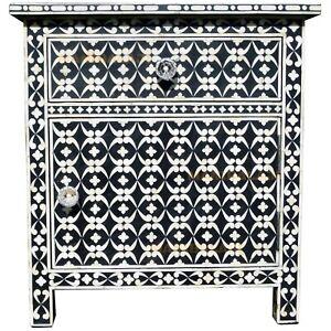 Bone Inlay Bedside Table1 Drawer 1 Door Side Cabinet Quote Design In Black Color