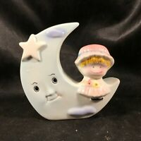 Vintage Ceramic Coin Piggy Bank WEISS Girl on Moon