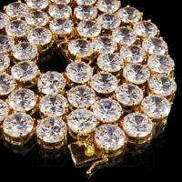 18k Gold 1 Row 12MM Simulated Lab Diamond Out Iced Chain Hip Hop Tennis Necklace