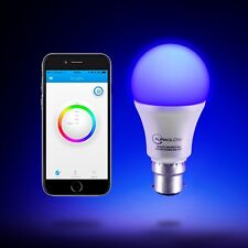 AURAGLOW 9W B22 Bluetooth Colour Changing Warm/Cool 60W Eqv LED Smart Light Bulb