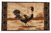"""Rooster Design Beige Door Mat Country Style Non Skid Dooormat 18"""" x 30"""" Area Rug"""