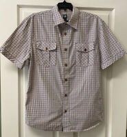 Cavi Mens M Short Sleeve Button Down White Brown Striped Shirt Pockets Cotton