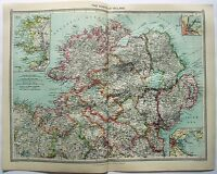 Original Map of The North of Ireland by George Philip & Son. c1907. Antique