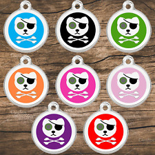 Stainless Steel Enamel Pet Id Tags Designers Pirate Cat