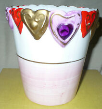 Valentine Ceramic Pottery Vase With Hearts, 5 1/2 ""