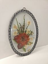 """Colorful Vintage Oval Metal Framed Glass Pressed Flowers Sun Catcher 7"""" Tall"""