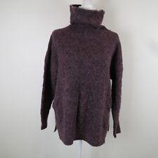 BANANA REPUBLIC Purple Chunky Wool Blend Turtle Neck Boxy Top Sweater Womens XS