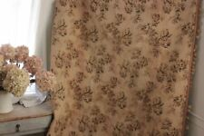 Vintage French tapestry woven curtain w/ trim c1940 Upholstery fabric trim
