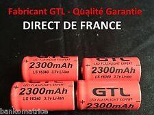 4 Piles Accus Rechargeables CR123A 16340 3.7V 2300Mah GTL Li-ion Batteries