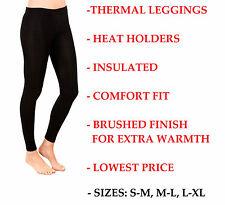 LADIES THERMAL LEGGINGS BLACK FOOTLESS WOMENS HEAT TRAPPER TIGHT WARM WINTER NEW