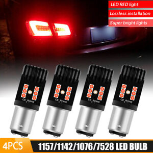 4X 1157 2057 RED LED Turn Signal Brake Tail Light Bulbs 3030-SMD BAY15D Canbus