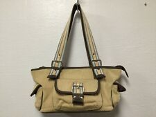 Womens Satchel Purse Beige Brown With Pink Lining Adjustable Straps The Sak  H1